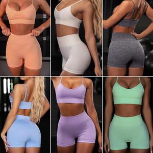 Women Seamless Yoga Set High Quality Sportive Bra Crop Top Biker Short Workout Sets Gym Waist Leggings Moisture Wicking Sports Bra and Pants