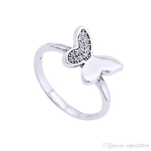 Summer New Butterfly Rings 925 Sterling Silver Pave Clear Crystal Butterfly Rings For Women Brand Wedding Fashion Fine Jewelry BF379