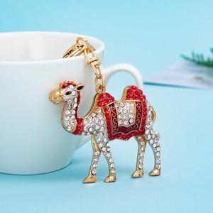 Lovely cute desert Camel colorful diamond rhinestone animal keychains popular fashion ins luxury designer bag charms keychains