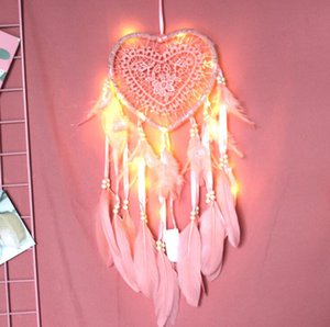 LED 가벼운 수제 Dreamcatcher 바람 차임 핸드 메이드 드림 캐처 그물 깃털 Dreamcatcher 공예 선물 홈 장식 DDA2866