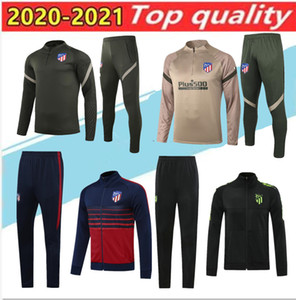 2020 Adult +kids Atletico veste survêtement de football 20 21 Atletico Madrid COSTA de Football Maillot Survêtement Survêtement longue fermeture éclair