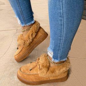 2020 mujeres piel de invierno zapatillas bowknot faux piel cálida casa señoras nieve bota peluche peludo moda chica mullido sandalias para las mujeres lj201201