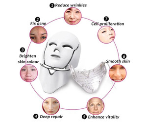 2020 Newest 7 Color LED light Therapy face Beauty Machine LED Facial Neck Mask With Microcurrent for skin whitening