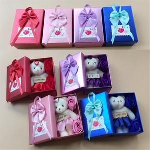 4 stili Stili Creativo Sapone Flower Box Regalo Confezione San Valentino Dono Valentino Decorazione di San Valentino Scatola di fiore rosa Presente Spedizione gratuita