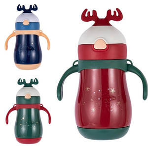 Christmas Vacuum Water Bottles 304 Stainless Steel Kids Thermos 260ml Baby Student Insulated Christmas Cup With Straws DHB548