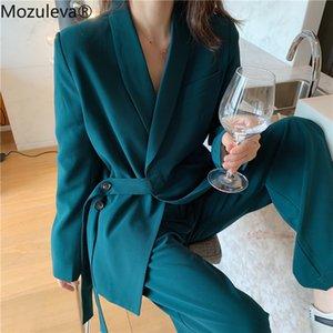 Mozuleva vintage 2020 iki adet kadın set lace up çentikli blazer