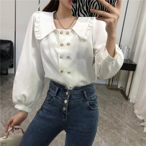 SHENGPALAE 2020 Autumn Women's Blouse Ruffles Doll Collar Pearl Double Breasted Long Sleeve Solid Color Female Casual Shirt 8D46