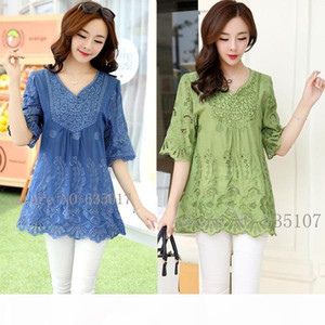 Casual 2017 summer Women Blouses vintage Embroidery Shirt Short Sleeve blouse ladies floral tops womens clothing plus size