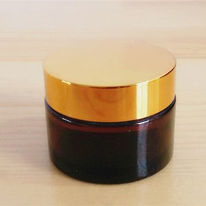 DHgate Amber 30ML 1OZ Glass Cosmetic Cream Jar with Gold Lid 50g 1.7oz Wide Mouth Round Body Butter Jar Container FreeShip
