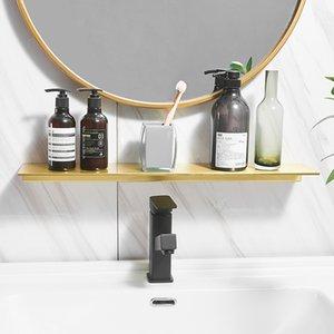 Nordic Wall Hanging Badezimmer Spiegel Front Kosmetik Regal Gebürstete Gold Lagergestell Set Duschveranstalter