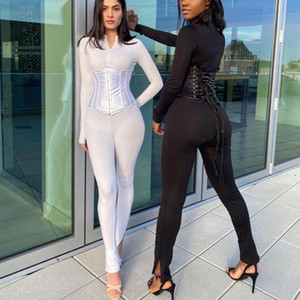Women Solid Jumpsuit Corset 2 Pieces Set Long Sleeve Zipper Bodycon Sexy Streetwear Matching Outfit Clothing Tracksuits