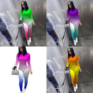Women Bodysuit Jumpsuits Rompers Girls One Piece Legging Pants Gradient Long Sleeve Clothes Onesies Night Club Party Outfit 234 K2