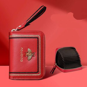 Hot Sale New RFID protected bee Genuine leather women designer card bags lady cow leather fashion casual zero wallets female casual clutchs