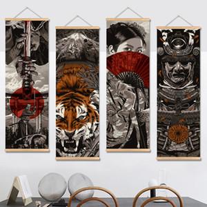 Japon Ukiyoe HD Tuval Poster Duvar Resimleri Oturma Odası Için Dekorasyon Boyama Duvar Sanatı Ile Masif Ahşap Asılı Kaydırma