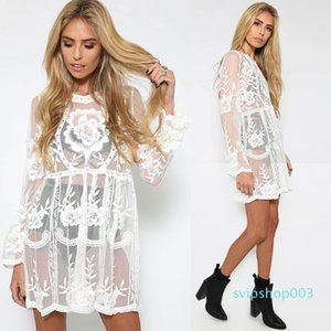 free shipping Crochet Beach dress round neck long sleeve knitted Bohemian Hippie women crochet clothing embroidery beachwear lace dresses