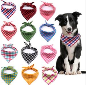 Sciarpa triangolare Plaid Pet Triangle Soft Pet Bandanas Cane Collars Pet Burp Panno Dog Neckerchief Dog Rifornimenti Dog Sciarpa GWB3421