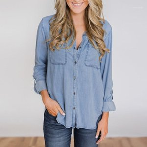 Women Summer Casual Soft Denim Shirt Tops Blue Jean Button Long Sleeve Blouse Denim Shirt blusas mujer de moda #201