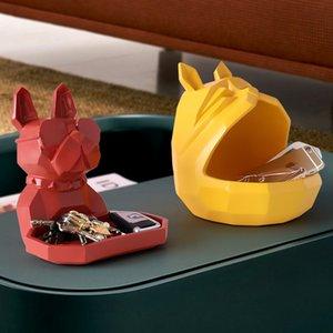 2020 Nova Caixa de Armazenamento Home Cachorro Cat Moderna Figurine Candy Fruit Key Decor Desktop Decor Armazenamento Recipiente Home Office Caixa de armazenamento Y1116