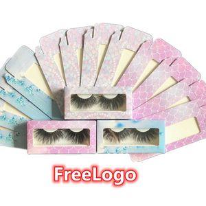 Mermaid Pearl Eyelash Packaging Box Bulk Wholesale 3D Mink Lashes Boxes Packaging free Logo Makeup Set Eyelashes Case Pack empty