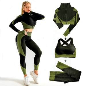 Women Seamless Yoga Sets 2pcs 3pcs Women's Zipper Tracksuit Long Sleeve +sport Bra+leggings Sports Suits Fitness Suits S-xl Size Y201128