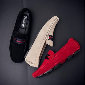 2020New High Quality Leather Fashion Summer Style Soft Moccasins Men Loafers luxury Slip-on Flats Gommino Driving Shoes H101