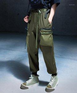 Мужские брюки уличные Мужчины Мужские Мультинациональные Карманы 2021 Мужская грузовые улицы Harajuku Techwear Pocket Chiting Комбинезоны Брюки W9501
