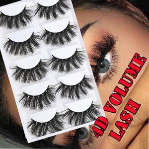 5Pairs 3D Faux Mink Hair False Eyelashes Wispy Fluffy Long Lashes Natural Crisscross Handmade Eye Makeup Extension Tools