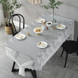 Lace Stripe Table Cover Flowers Tablecloth Decor Wedding Dining Coffee Table Runner Home Banquet Furniture Dustproof Cover