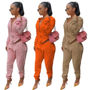 Womens Two Piece Pants Long Sleeve Solid Color Zipper Cardigan Coat Autumn Fashion Casual Tracksuits Female Clothing