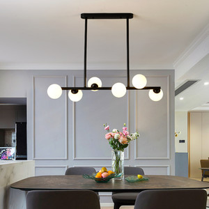 Dining Room Ceiling Chandelier Suspension Horizontal Glass Balls Chandeliers Kitchen Hanging Lamp Office Front Desk Lights