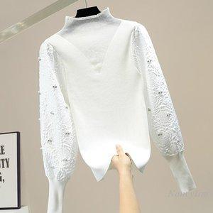 Beads Diamante Spruff Sleeve Sweater Mulheres Turtleneck Slim Fit Feminino All-Match Knit Branco Nancylim Nancylim