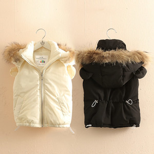 Girls Outwear&Coats Winter 2-10 Years Animal Ear Faux Fur Hat Solid Color Thickening Plus Velet Kids Baby Girl Hooded Vests 201110