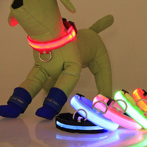 Night LED Flash Dog collars Dog Adjustable Safety LED Light leash puppy dog collars home pet supplies will and sandy drop ship