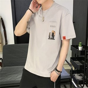 Short sleeve men's fashion brand new fashion loose cotton ins half sleeve youth student casual versatile T-shirt