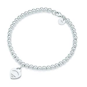 100% 925 Silver pendant tag bracelets T Genuine Charm love Heart Bead Bracelet Original Female men Jewelry Personality Gift 2020 new