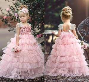 Blush Pink Layers Ball Gown Flower Girl Dress 2019 Hand Made Flowers Princess Birthday Patry Gown Girl Formal Dresses Custom Made