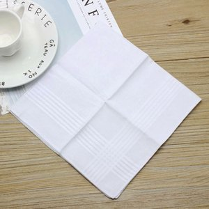 DHL Free Shipping 100pcs lot New 100% cotton male table satin handkerchief towboats square handkerchief whitest 34cm