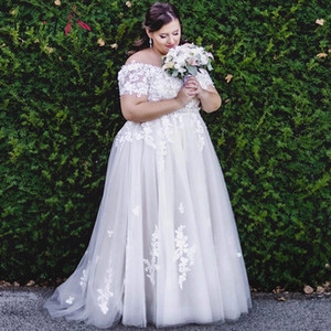 Off shoulder Plus Size Wedding Dresses A Line Appliques Embroidery Bridal Gowns Simple Zipper Back Marriage Dress White Grey