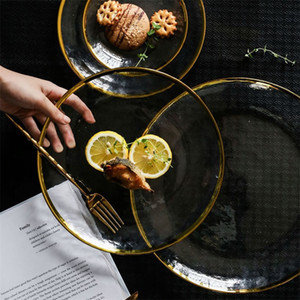 Gold Inlay Edge Glass Food Serving Plate Fruit Dessert Cake Salad Tray Meal Pasta Storage Container Main Dish Western Tableware 201217