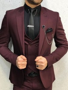 Brand New Groomsmen Burgundy Groom Tuxedos Peak Lapel Men Suits Wedding Prom Dinner Best Man Blazer ( Jacket+Pants+Tie+Vest ) G57