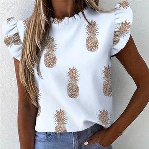 Signore ufficio elegante Muyogrt estate donne Pineapple Stampa scollo a V Ruffle Blouse Camicia farfalla manica Camicie Casual Top