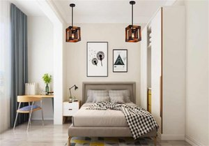 American country retro chandelier lighting industrial style square metal wood chandelier lights aisle corridor restaurant pendant lamps