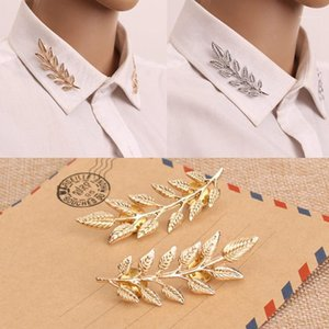 Fashion Women Gold Color Leaf Collar Pin Creative Shirt Brooch Jewelry Christmas Gift Broches Jewelry1