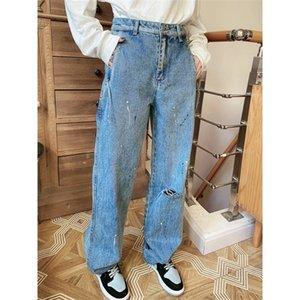 2020 nuova pittura a vita alta a vita alta taglio vecchio taglio dritto jeans street tendenza ruffian handsome papà Y1214