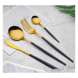410 Posate in acciaio inox Dinnerware a buon mercato 4pcs Black Gold Platsware Set Set di posate in acciaio inox Set coltello JllGFK HairJersey