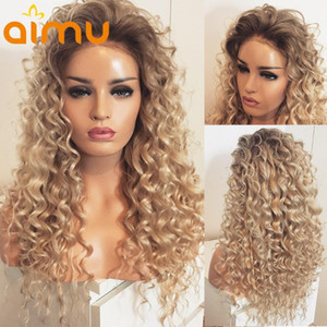 Curly Ombre Brown Blonde Human Hair Wig Glueless Deep Wave 613 Colored HD Lace Wig For Women Full Pre Plucked Bleached Knot Remy