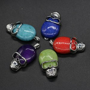 New Natural Stone Pendant Skull Red Agates Faceted Pendant Necklace For Diy Jewelry Best Birthday Gift Size 25x42mm sqcnPX luckyhat