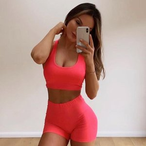 Two-piece Seamless Sexy Yoga Suit Women , Tops Bra + Yoga Shorts Fluorescent Green Tracksuits for Female Fitness Sports Set Y201128