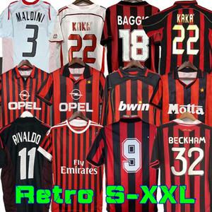 90 91 Camicie retro Casa 96 97 Gullit Jersey di calcio 02 03 04 Maldini Van Basten Football Ronaldo Kaka Inzaghi AC 06 07 Milano 09 10 Shevchenko