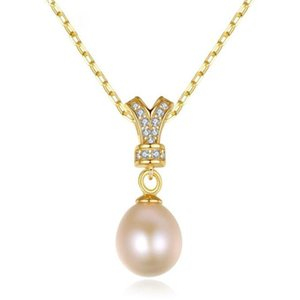 Ketten 925 Sterling Silber Halskette Weibliche Retrostil Krone Natürliche Perlen Anhänger Schmuck Dreifarbige Kette Geschenk für Freundin